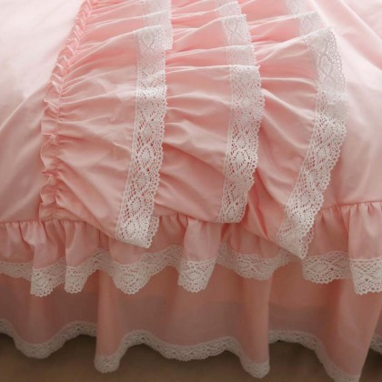 Pink Triple Ruffle Duvet Cover Set