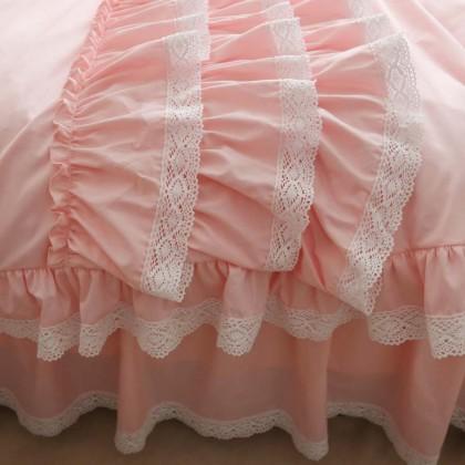Pink Triple Ruffle Duvet Cover Set
