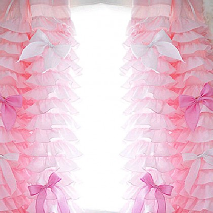 "Custom Made Pink Ruffle Waterfall Curtain Set 62""W x 95""L"