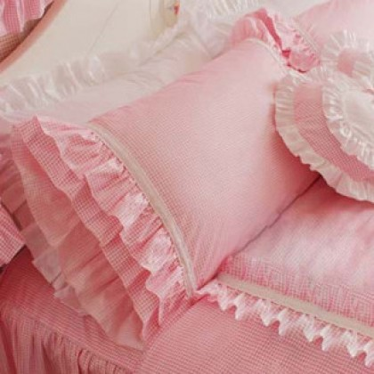 Pink Gingham Ruffled Pillow Sham