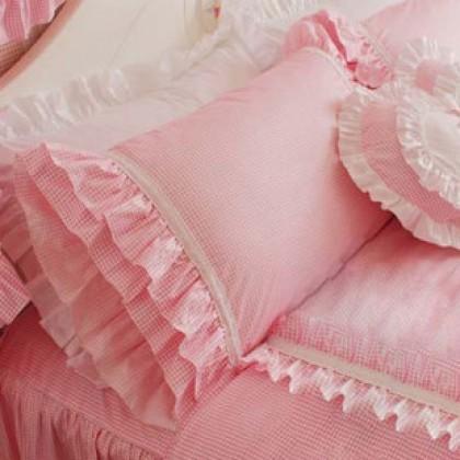 Pink Gingham Ruffled Pillow Sham