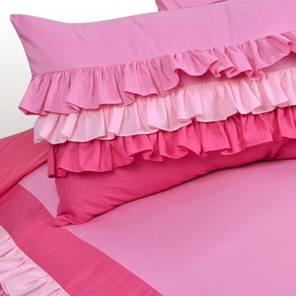 Sweet Candy Pink Ruffle Shams