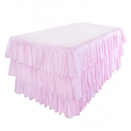 Pink Ruffled Fitted Tablecloth
