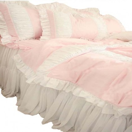 Pink Puckered Duvet Cover 4pcs Set Queen