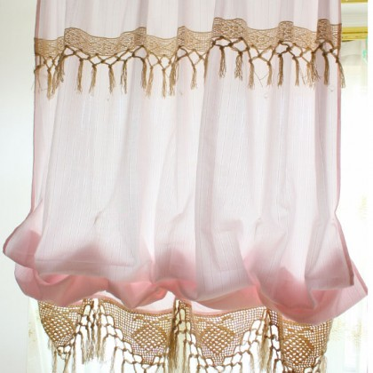 Pink Crochet Lace Balloon Curtain