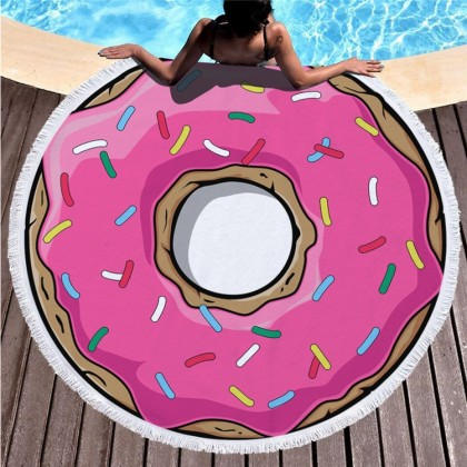 Pink Doughnut Round Towel Picnic Beach Blanket
