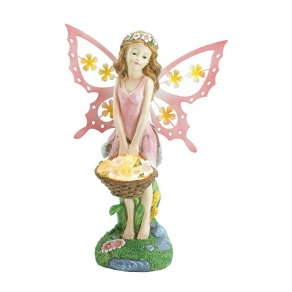 Pink Fairy Garden Statue with Solar Power Flower Light