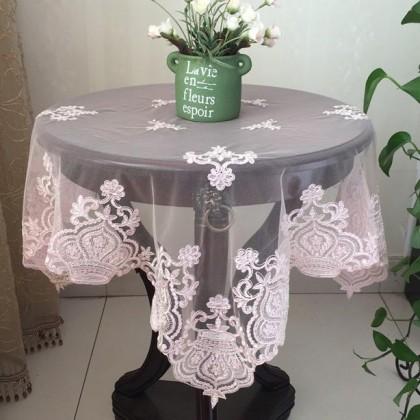 Pink Delicate French Lace Table Topper