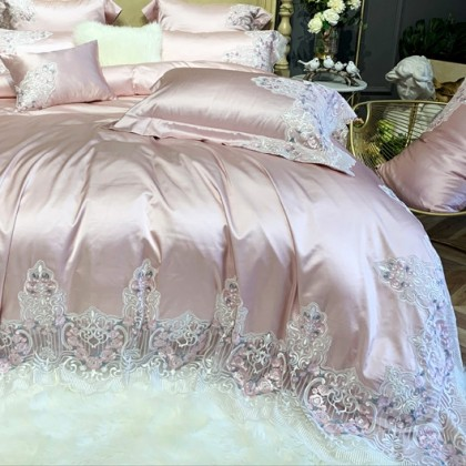 Italian Lace Duvet Cover Set-Pink