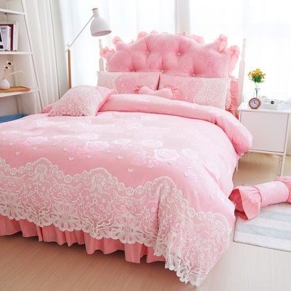 Pink Paris Lace Egyptian Cotton Duvet Cover Set