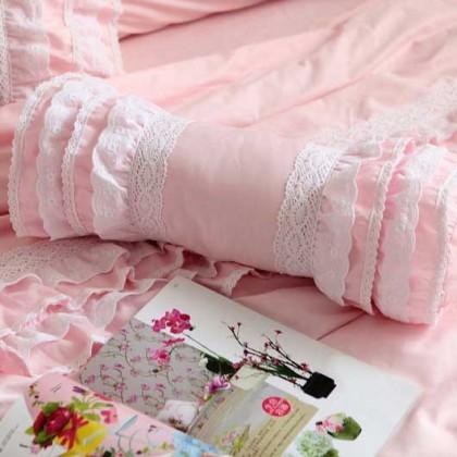 Pink Ruffle Bolster Pillow Cover