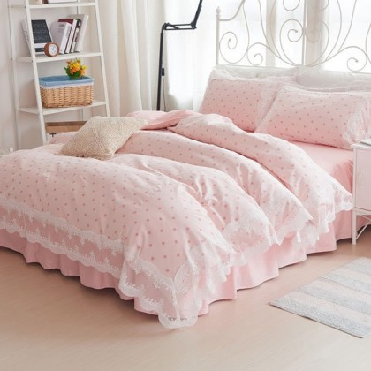 Pink Polka Dots Duvet Cover Set