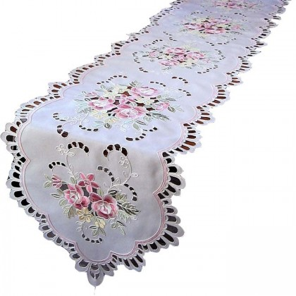 Floral Embroidered Cutwork Table Runner
