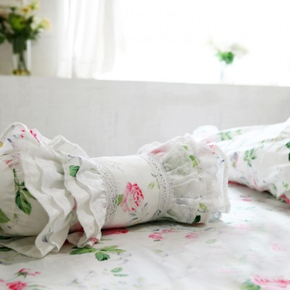 Rose Bolster Ruffled Roll Candy Pillow Cover