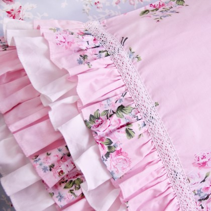 Layered Ruffle Pillow Sham, Pink Rose