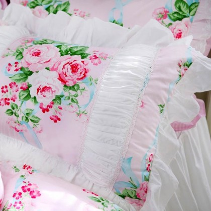 Pink Rose White Ruched Pillow Sham