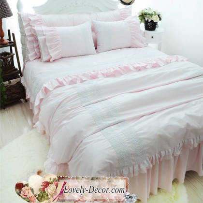 Light Pink Ruffle Duvet Cover Set