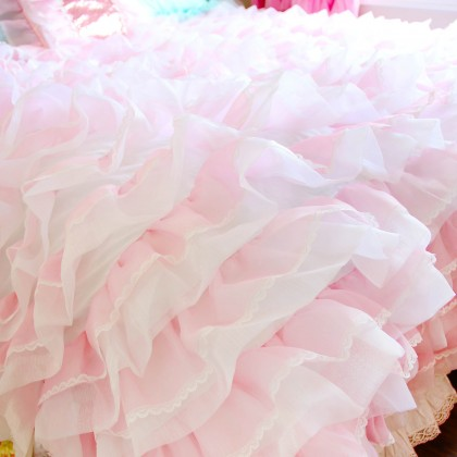Luxury Pink Ruffle Duvet Cover