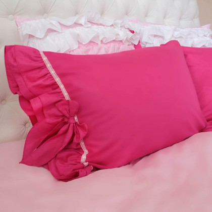Fuchsia Double Ruffle Pillow Sham