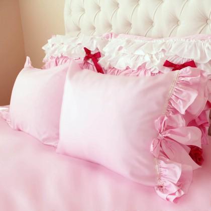 Pink Double Ruffle Pillow Sham