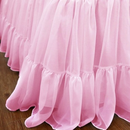 Chiffon Ruffle Bed Skirt-Pink