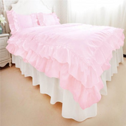 Pink Double Ruffle Duvet Cover Set