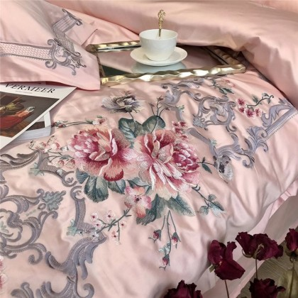 Elegant Embroidery Duvet Cover Set-Pink