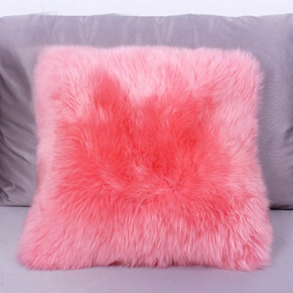Pink Sheepskin Fur Wool Cushion Throw Pillow Cover