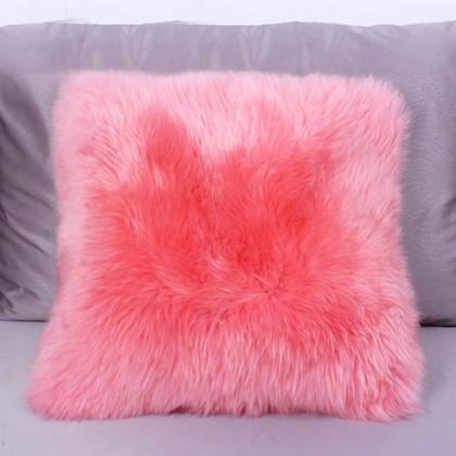 Pink Sheepskin Fur Wool Cushion Throw Pillow Cover
