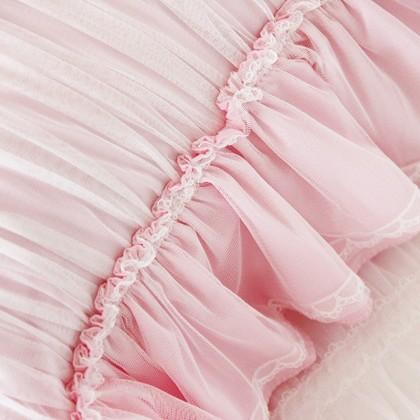 Pink Ruched Ruffle Sheer Pillow Sham