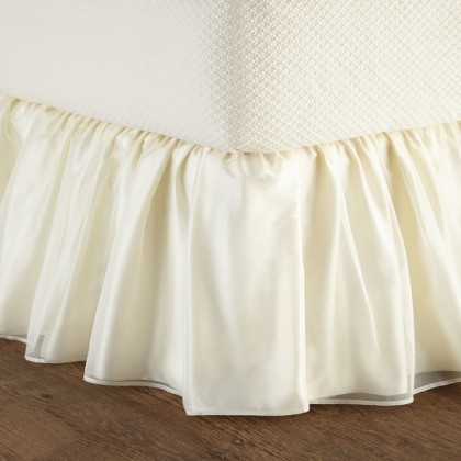 Light Yellow Sheer Overlay Wrap-Around Ruffle Bed Skirt