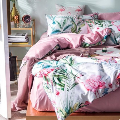Flamingo Egyptian Cotton Duvet Cover Set