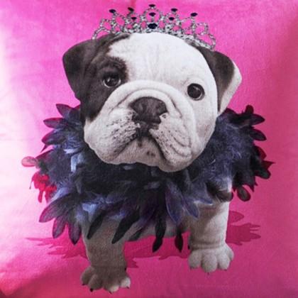 Pink Bulldog Puppy Cushion Cover