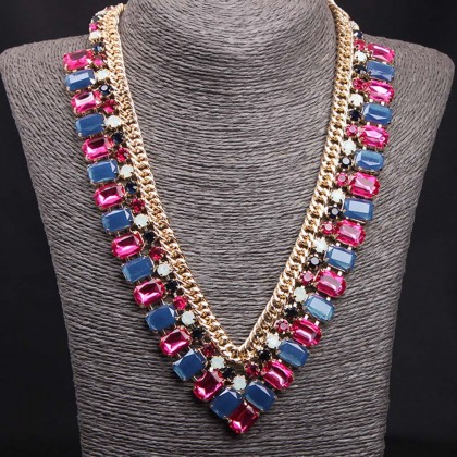 Blue Pink V Shape Necklace