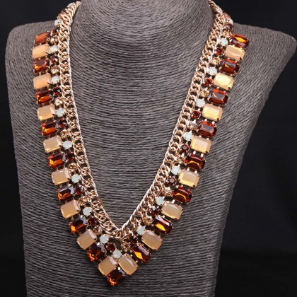 Orange V Shape Necklace