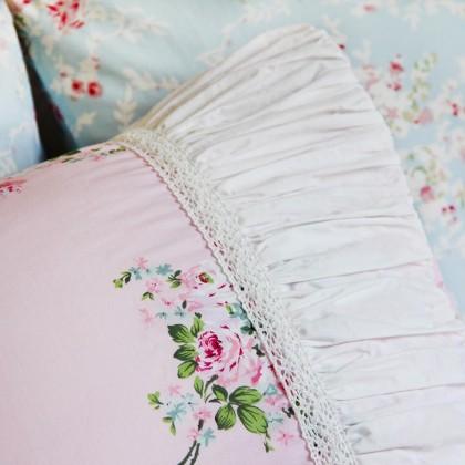 Mermaid Long Ruffle Pillow Sham, Pink Rose