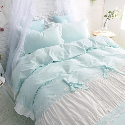 Princess Ruched Duvet Cover Set-Aqua
