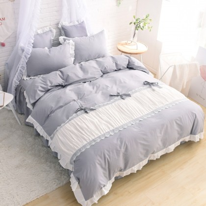 Princess Ruched Duvet Cover Set-Grey