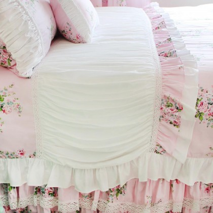 Pink Roses Ruched Ruffle Duvet Cover Set