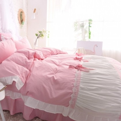Princess Ruched Duvet Cover Set-Pink