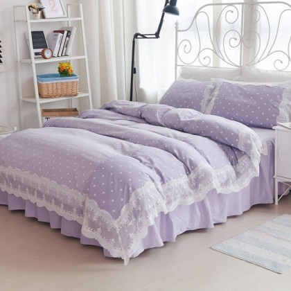 Princess Purple Polka Dots Duvet Cover Set