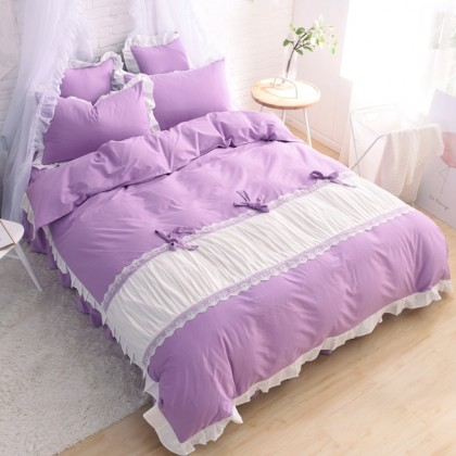 Princess Ruched Duvet Cover Set-Purple