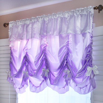 Princess Purple Satin Balloon Curtain Shade