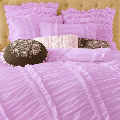Clara Purple Ruched Duvet Cover Set