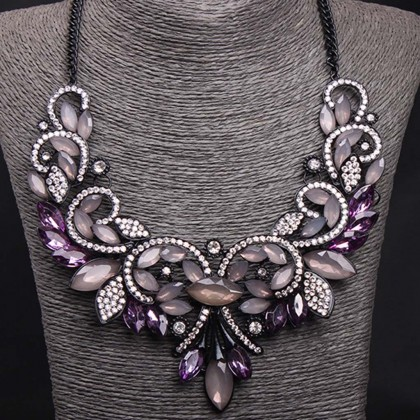 Gothic Bib Purple Necklace