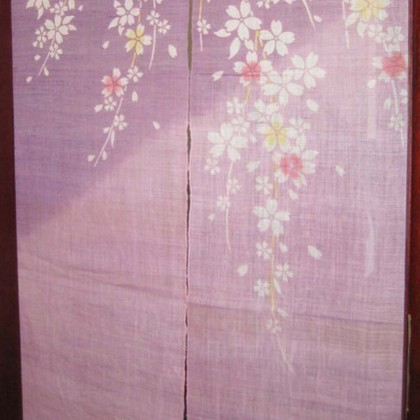 Cherry Blossom Purple Door Curtain