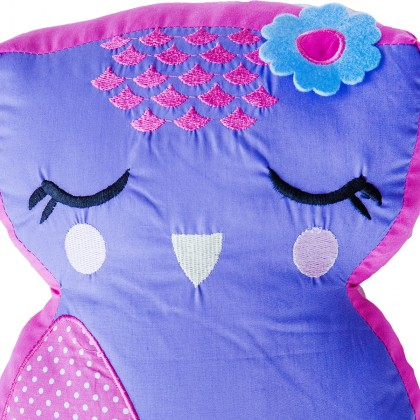 3D Purple Owl Plush Cuddle Cushion Toy