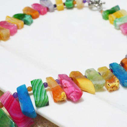 Natural Agate Rainbow Necklace