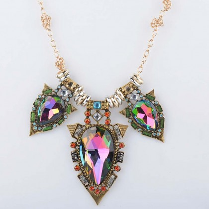 Rainbow Statement Aurora Borealis Necklace