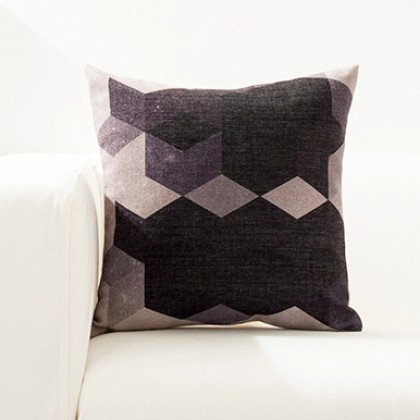 Black White Geometry Cushion Cover E